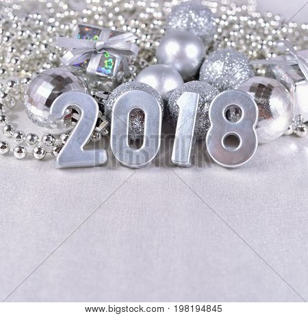 2018 Year Silver Figures And Silvery Christmas Decorations