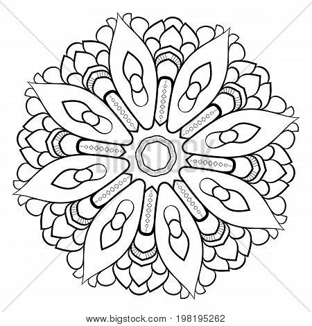 Contour mandala for color book. Monochrome image. Symmetrical pattern. Illustration for scrapbook. The template for printing. Picture for meditation and relaxation. Beautiful graphics for the album.