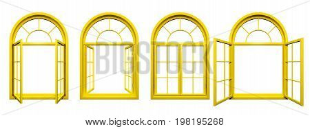 Collection of yellow arched windows isolated on white