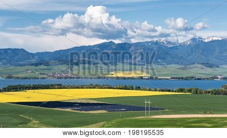 Solar power plant in spring country at Slovakia