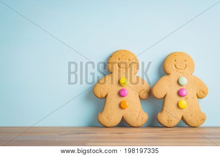 Gingerbread man leaning against the wall. Xmas gingerbread.