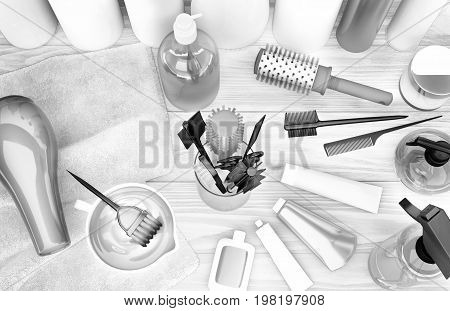 Hairdryer combs hair dye and professional cosmetics for hair located on a wooden table. 3D illustration