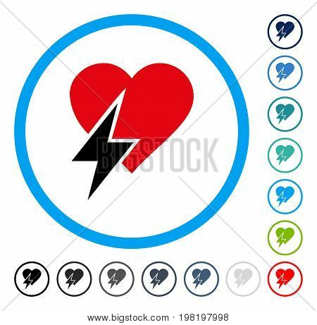 Heart Shock icon inside round frame. Vector illustration style is a flat iconic symbol in some color versions.
