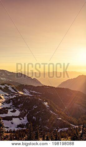 Summer sunset in the Mountains at Snowbird, Little Cottonwood Canyon, Utah.
