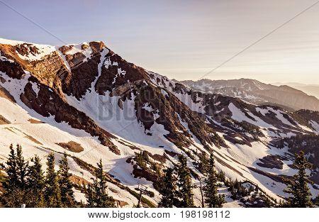 Mountain tops at Snowbird Resort in Little Cottonwood Canyon, Utah.