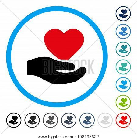 Love Heart Offer Hand icon inside circle frame. Vector illustration style is a flat iconic symbol in some color versions.