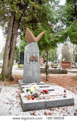 MARTIN SLOVAKIA - DECEMBER 15: Grave of Janko Kral in Slovak national cemetery on December 15 2016 in Martin