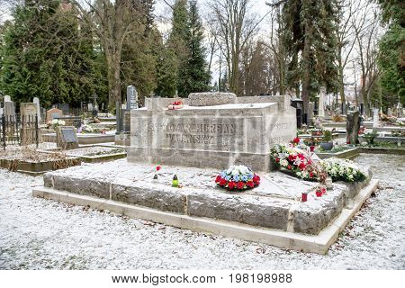 MARTIN SLOVAKIA - DECEMBER 15: Grave of Svetozar Hurban Vajansky in Slovak national cemetery on December 15 2016 in Martin