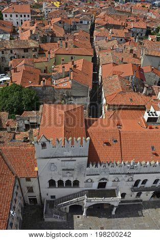 An aerial view of Titov Trg square in the historic Slovenian coastal town of Koper. Taken from the top of Koper Cathedral (Cathedral of the Assumption of the Blessed Virgin or Stolna cerkev Marijinega Vnebovzetja)