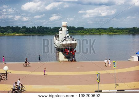 RUSSIA NIZHNY NOVGOROD - JUL 28 2017: One of the cities of the World Cup 2018. On Volga river embankment is a monument to heroic ship