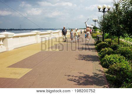 RUSSIA NIZHNY NOVGOROD - JUL 28 2017: One of the cities of the World Cup 2018. Tourists walk along the Volga embankment