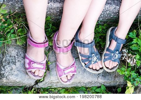 Young Girl's Legs With Sandals
