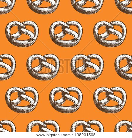 Fresh baked salted sesam pretzel seamless pattern. German traditional oktoberfest baked goods. Wrapping print for bake shops and markets.