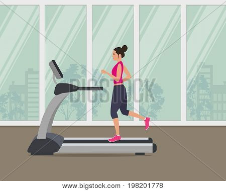 Young woman in a sporty uniform is running on a treadmill on a window background. Vector illustration.