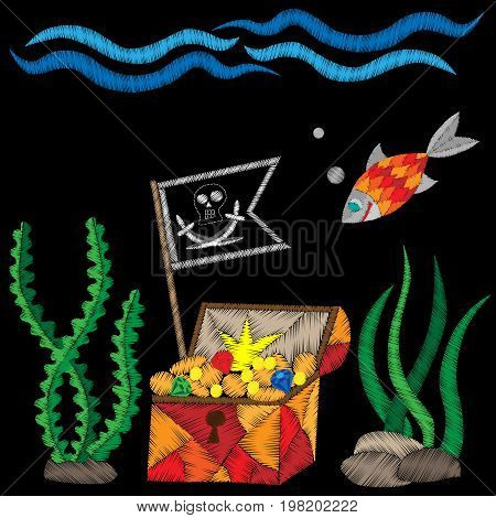 Pirate trunk with flag under water with treasure and fish embroidery stitches imitation on black background. Embroidery vector illustration with trunk fish wave.
