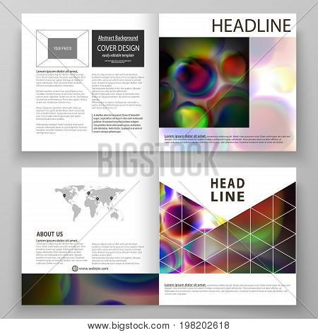 Business templates for square bi fold brochure, magazine, flyer, booklet or annual report. Leaflet cover, flat vector layout. Colorful design background with abstract shapes, bright cell backdrop.