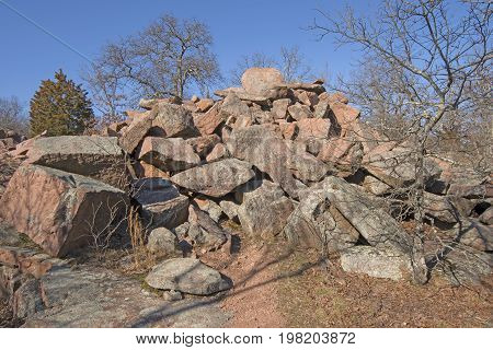 Granite Rocks from Granite Mining in Elephant Rocks State Park in Missouri