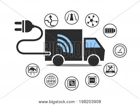 Electric truck symbol with power plug and various icons. Vector illustration.