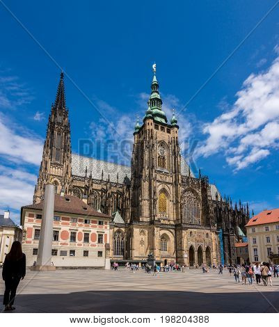 Prague landmark - St. Vitus Cathedral in Hradcany, Prague, Bohemia, Czech Republic
