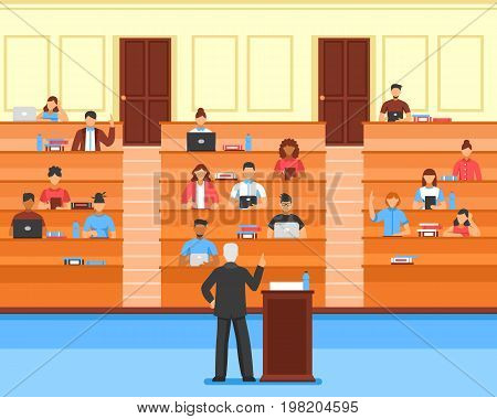 Flat colored audience conference hall composition with students and teacher at university vector illustration
