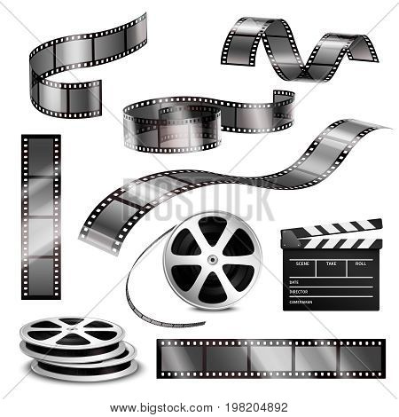 Realistic clapper blank photographic strips and film reels 3d monochrome set on white background isolated vector illustration