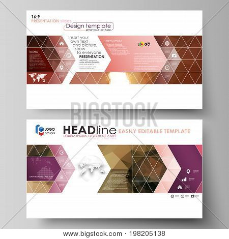 Business templates in HD format for presentation slides. Easy editable abstract vector layouts in flat design. Beautiful background. Geometrical colorful polygonal pattern in triangular style.