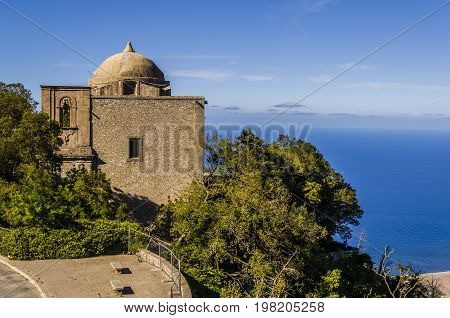 Panoramic view of a church and mediterranean background in the city of erice sicily