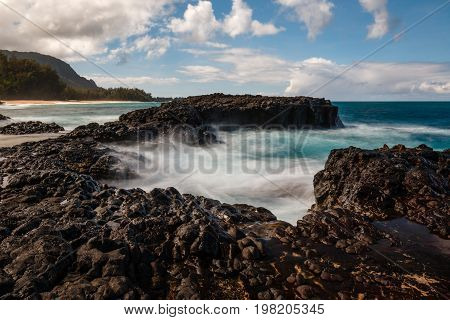 Waves at Makahoa Point in Kauai, Hawaii