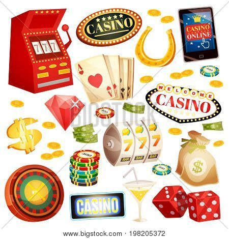 Casino decorative icons set with horseshoe money roulette cards chips jackpot dice isometric elements isolated vector illustration