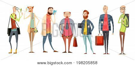 Team of teachers retro cartoon collection with variety of men in glasses with badges isolated vector illustration