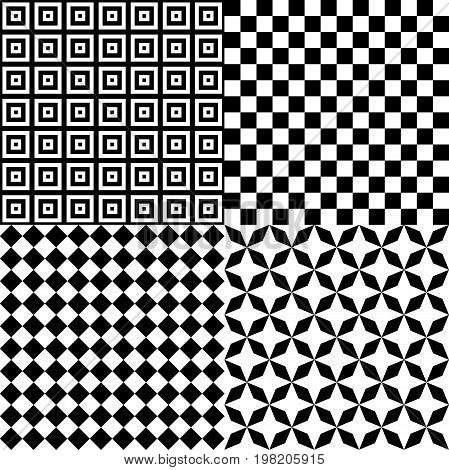 Black and White Hypnotic Psychedelic Background Collection Set Pattern. Vector Illustration EPS10