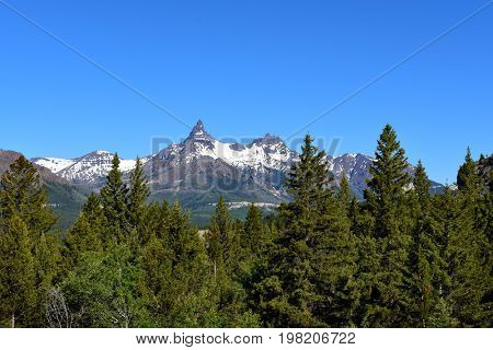 Pilot Peak and Index Peak are prominent mountain peaks in the Absaroka Range, Wyoming. The peak is seen from the Beartooth Highway.