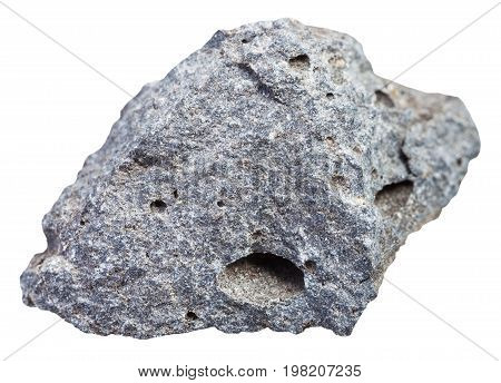 Rough Porous Basalt Stone Isolated