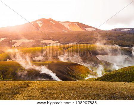 Landmannalaugar rainbow mountains in Fjallabak Nature Reserve, Iceland.