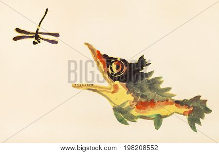 Perch Fish Hunts For Dragonfly