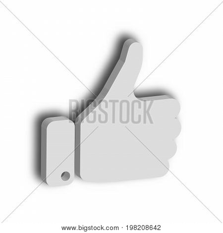White hand with thumb up. Gesture of like, agree, yes, approval or encouragement. 3D vector illustration with dropped shadow.