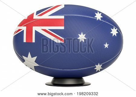 Rugby Ball with flag of Australia on the ball stand 3D rendering