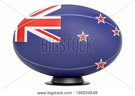 Rugby Ball with flag of New Zealand on the ball stand 3D rendering