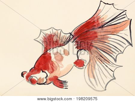 Red Goldfish On Ivory Colored Paper