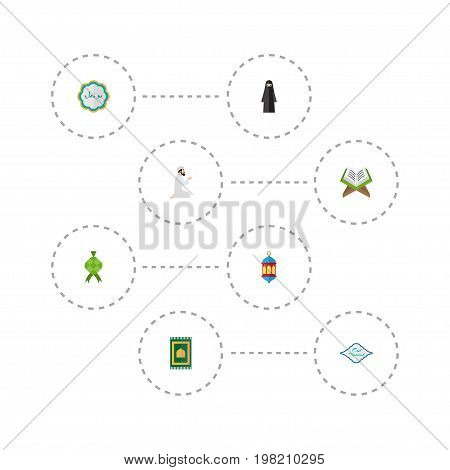 Flat Icons Prayer Carpet, Praying Man, Holy Book And Other Vector Elements