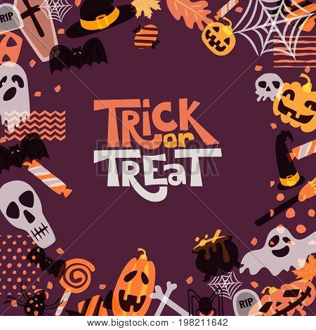 Vector Halloween square frame with hand drawn doodle pumpkin skull witch hat bones candies ghost broom cauldron and trick or treat word. Design for holiday greeting card banner poster.