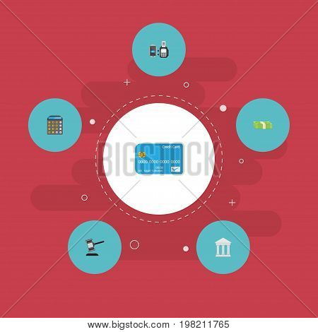 Flat Icons Bank, Remote Paying, Cash Stack And Other Vector Elements