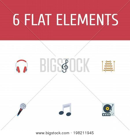 Flat Icons Quaver, Turntable, Musical Instrument And Other Vector Elements
