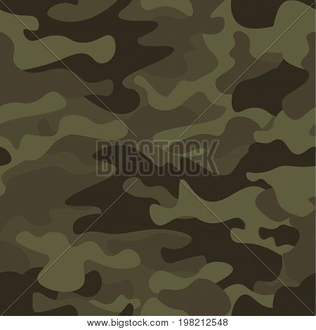 Camouflage seamless pattern background. Classic clothing style masking camo repeat print. Green brown black olive colors forest texture. Design element. Vector illustration
