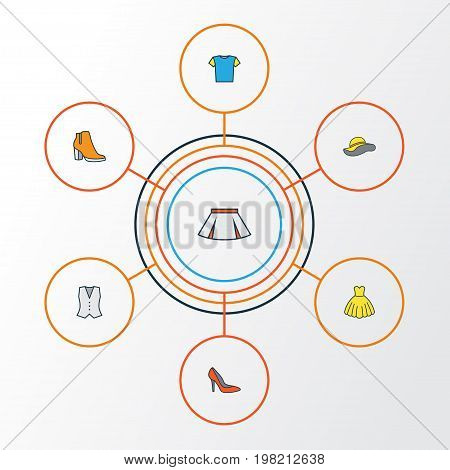 Clothes Colorful Outline Icons Set. Collection Of Skirt, Vest, Heels And Other Elements