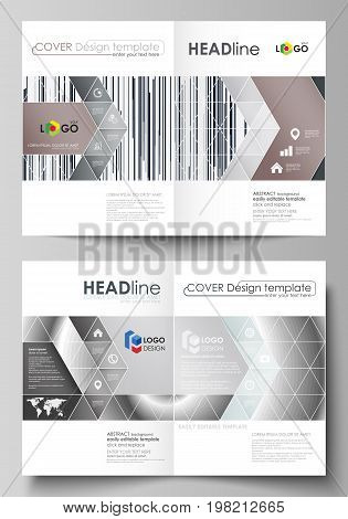 Business templates for bi fold brochure, magazine, flyer. Cover design template, abstract vector layout in A4 size. Simple monochrome geometric pattern. Minimalistic background. Gray color shapes