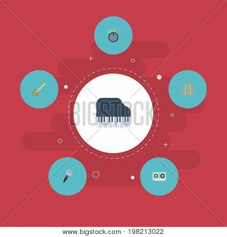 Flat Icons Octave Keyboard, Banjo, Tape And Other Vector Elements