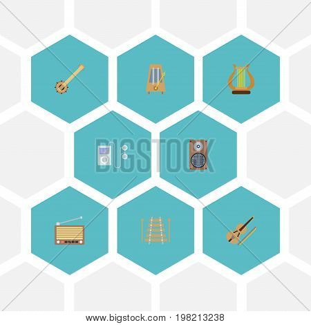 Flat Icons Lyre, Rhythm Motion, Mp3 Player And Other Vector Elements