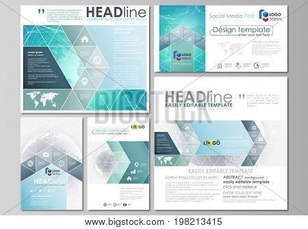 The minimalistic abstract vector illustration of editable layout of modern social media post design templates in popular formats. Chemistry pattern. Molecule structure. Medical, science background.