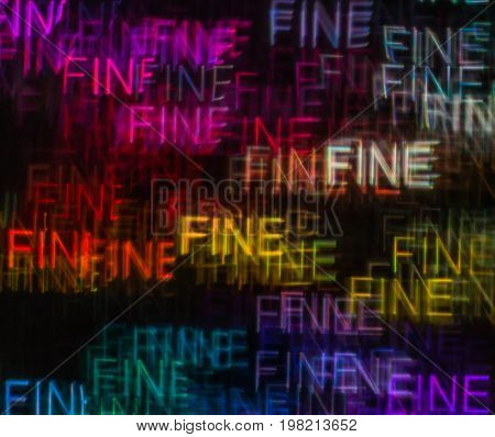 Beautiful Background With Different Colored Word Fine, Abstract Background, Fine Shapes On Black Bac